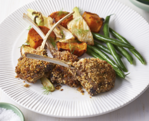 Walnut crusted lamb cutlets