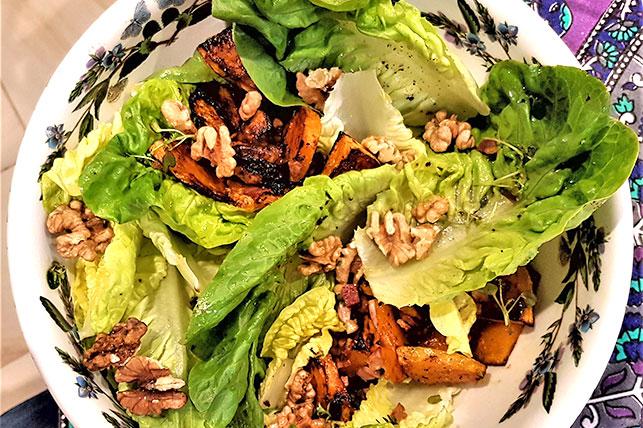 Caramelised Pumpkin and Walnut Salad
